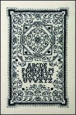 click here to view larger image of Tiny Blackwork Sampler (chart with charms/buttons)