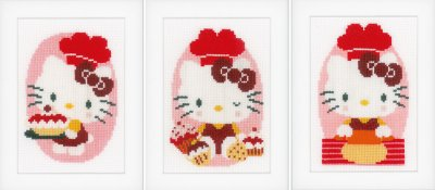 click here to view larger image of Hello Kitty Bakery Minis - Set of 3 (counted cross stitch kit)