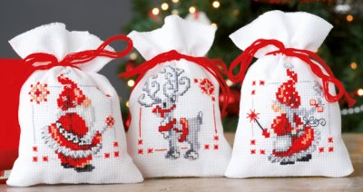 click here to view larger image of Christmas Elves - Set of 3 (counted cross stitch kit)