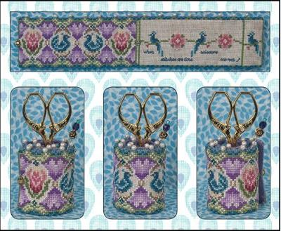 click here to view larger image of Peacock Garden Scissor Roll (VERY LIMITED) (counted cross stitch kit)