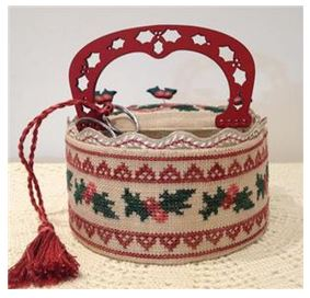 click here to view larger image of Holly Sewing Basket (chart with charms/buttons)
