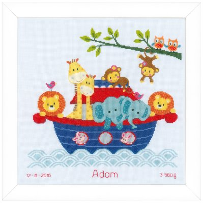 click here to view larger image of Animals In Boat (counted cross stitch kit)
