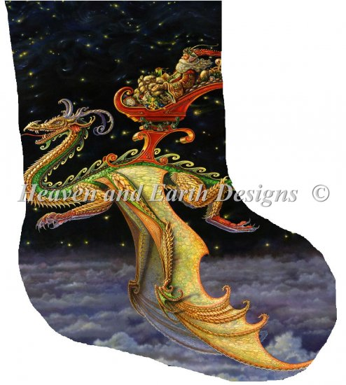click here to view larger image of Stocking Saint Nicholas Dragon Sleigher Large (chart (special))