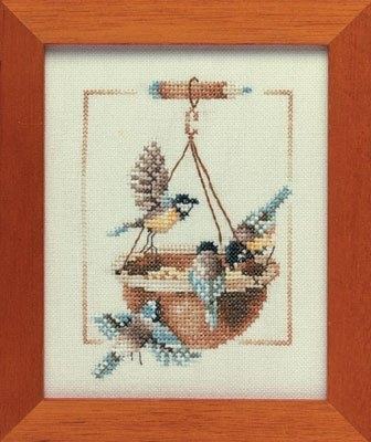 click here to view larger image of Feeding Dish with Birds - 27ct (counted cross stitch kit)
