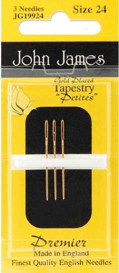 click here to view larger image of John James - Gold Plated Tapestry Petite (needles)