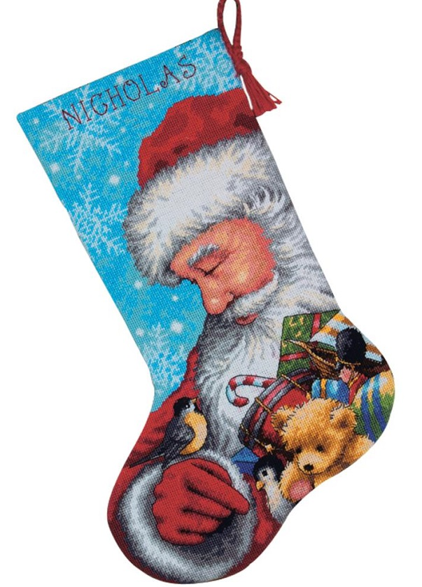 click here to view larger image of Santa and Toys Stocking (needlepoint)