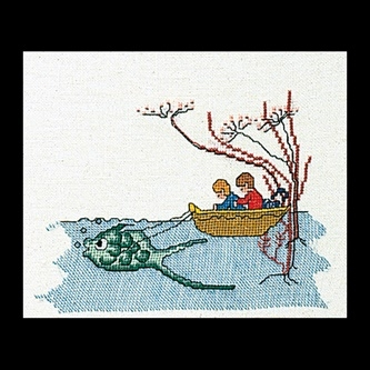 click here to view larger image of Boat With Fish (Linen) (counted cross stitch kit)