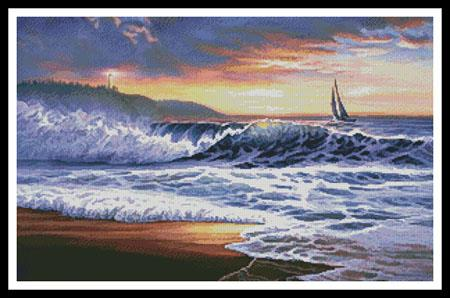click here to view larger image of Beach Sunset Lighthouse  (Russell Cobane) (chart)