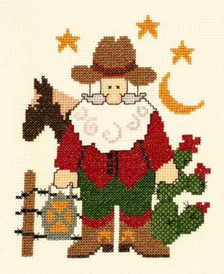 click here to view larger image of Cowboy Santa (counted cross stitch kit)