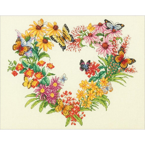 click here to view larger image of Wildflower Wreath (counted cross stitch kit)