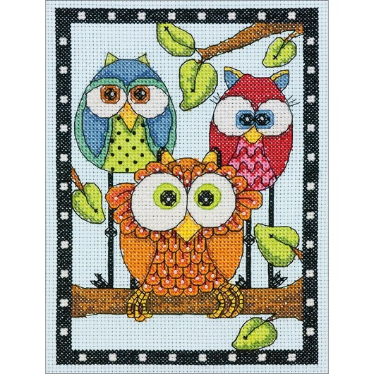 click here to view larger image of Owl Trio (counted cross stitch kit)
