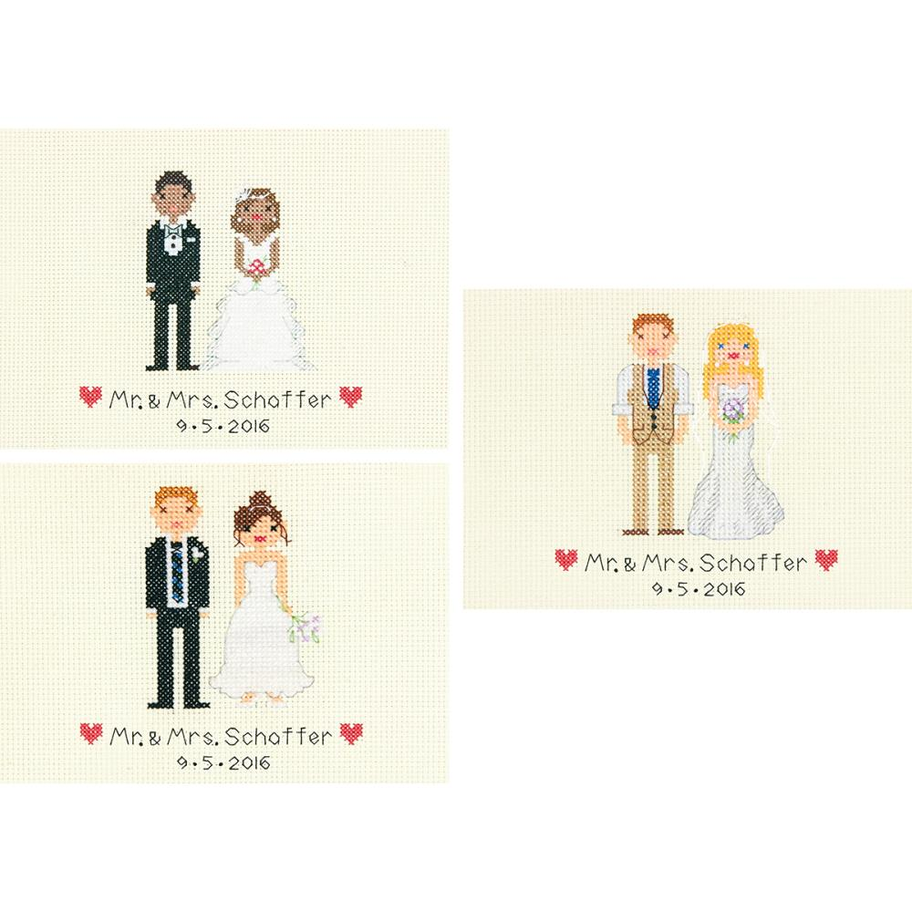 click here to view larger image of Bride and Groom Wedding Record (counted cross stitch kit)
