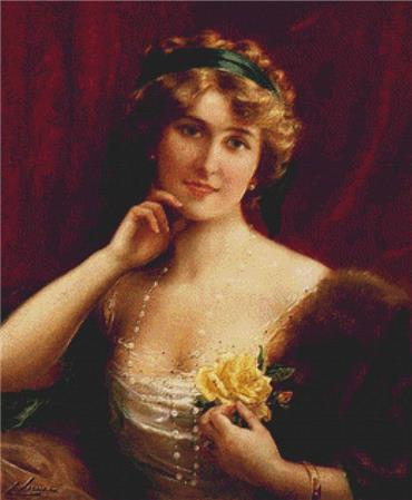 click here to view larger image of An Elegant Lady With A Yellow Rose (chart)
