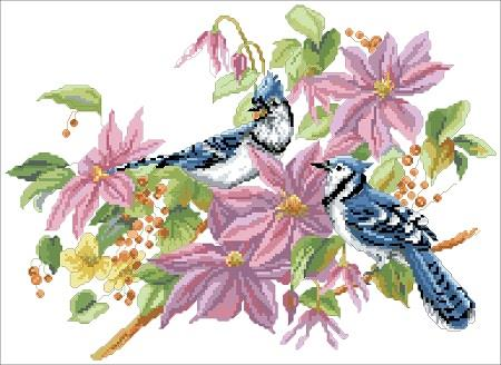 click here to view larger image of Blue Jays and Clematis (chart)