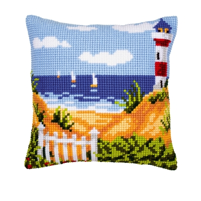click here to view larger image of Lighthouse and Sailboats Cushion (needlepoint)