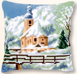 click here to view larger image of Church In The Snow Cushion (needlepoint)
