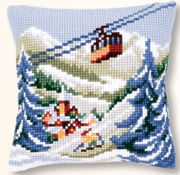 click here to view larger image of Alpine Scene Cushion (needlepoint)