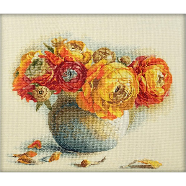 click here to view larger image of Bouquet Of Ranunculuses (counted cross stitch kit)
