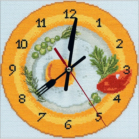 click here to view larger image of Its Breakfast Time Clock (counted cross stitch kit)