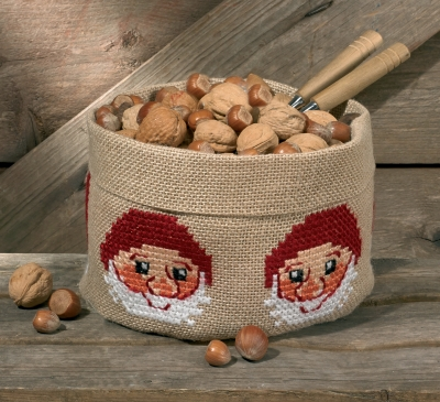 click here to view larger image of Christmas Elf Basket (counted cross stitch kit)