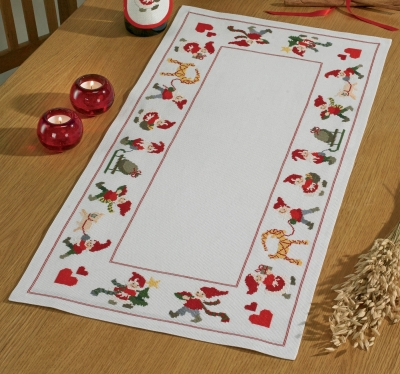 click here to view larger image of Happy Santas Table Runner (counted cross stitch kit)