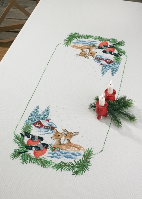 click here to view larger image of Deer In Snow Tablecloth (counted cross stitch kit)