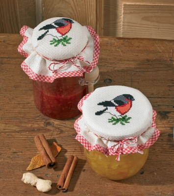 click here to view larger image of Bullfinch Jam Lid Cover (set of 2) (counted cross stitch kit)