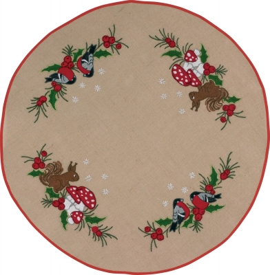 click here to view larger image of Squirrel Tree Skirt (stamped cross stitch kit)