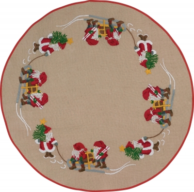 click here to view larger image of Elfs Tree Skirt (stamped cross stitch kit)