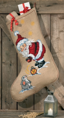 click here to view larger image of Elf and Rabbit Stocking (counted cross stitch kit)
