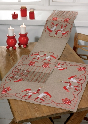 click here to view larger image of Red Santa Claus Table Topper (Bottom) (counted cross stitch kit)