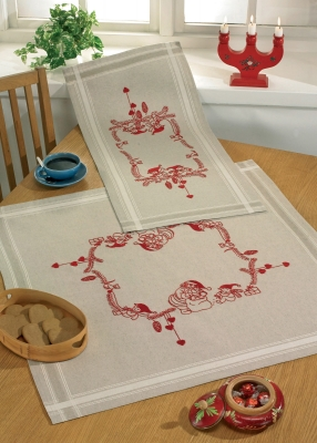 click here to view larger image of Little Elfs Table Cloth (bottom) (stamped cross stitch kit)