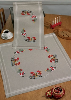 click here to view larger image of Three Elfs Table Cloth (bottom) (stamped cross stitch kit)