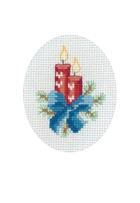 click here to view larger image of Christmas Light/Candle Card (counted cross stitch kit)