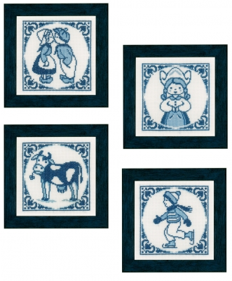 click here to view larger image of Delft Blue (Set of 4) (counted cross stitch kit)