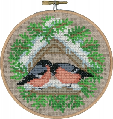 click here to view larger image of Bullfinch With Hoop (counted cross stitch kit)