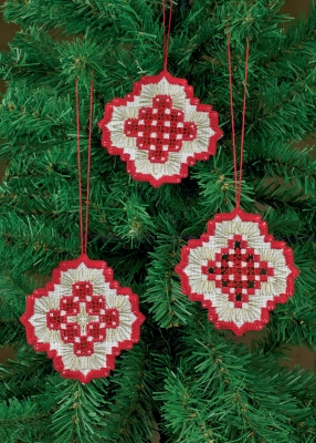 click here to view larger image of Three Christmas Hardanger Ornaments - White with Red (Hardanger and Cut Work)