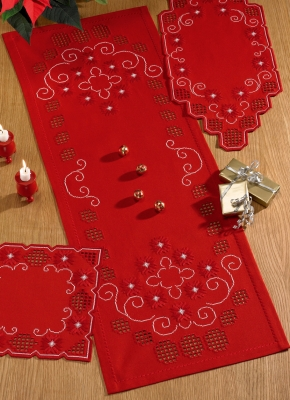 click here to view larger image of Red Hardanger Table Runner (center) (Hardanger and Cut Work)