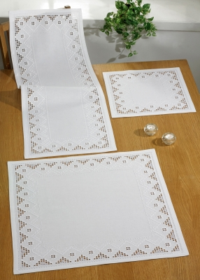 click here to view larger image of White Hardanger Table Runner (upper left) (Hardanger and Cut Work)