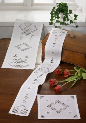 click here to view larger image of White Diamond Hardanger Table Runner - Narrow (Middle) (Hardanger and Cut Work)