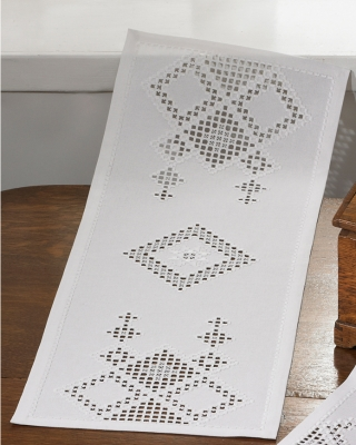 click here to view larger image of White Diamond Hardanger Table Runner (Hardanger and Cut Work)