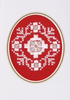 click here to view larger image of Hardanger Christmas Card - White on Red (Hardanger and Cut Work)