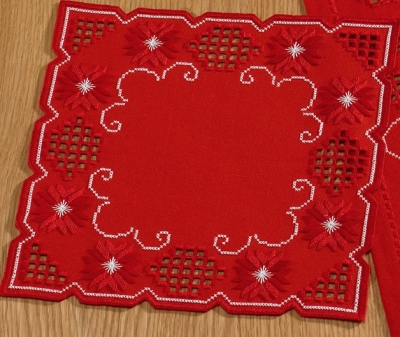 click here to view larger image of Red Hardanger Table Topper (Hardanger and Cut Work)