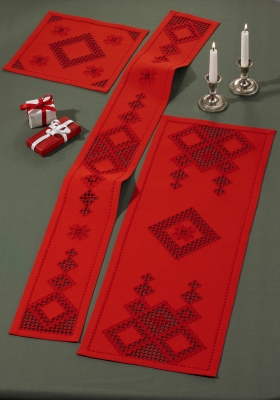 click here to view larger image of Red Hardanger Table Topper (Upper Left) (Hardanger and Cut Work)