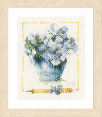 click here to view larger image of Pot With Violets (counted cross stitch kit)