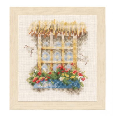 click here to view larger image of Window and Flower Box (counted cross stitch kit)