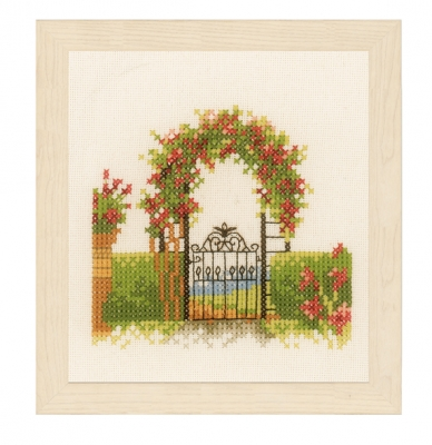 click here to view larger image of Fence and Flowers (counted cross stitch kit)