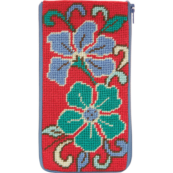 click here to view larger image of Red Asian Floral eyeglass case Alice Peterson  (needlepoint)