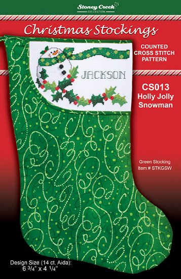 click here to view larger image of Holly Jolly Snowman Stocking (chart)