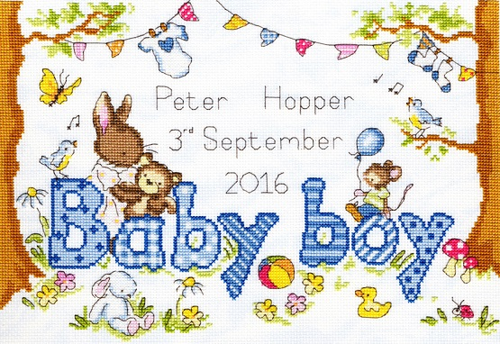 click here to view larger image of Bunny Love - Boy (counted cross stitch kit)